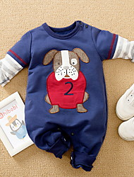 cheap -Baby Boys' Basic Dog Animal Print Long Sleeve Romper Blue