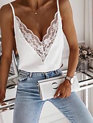 cheap -Women's Tank Top Vest Plain Patchwork Lace Trims V Neck Basic Streetwear Tops White Black