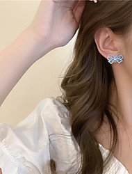 cheap -s925 bow earrings 2021 new trendy exquisite earrings ins style simple tea ear clip without pierced ears