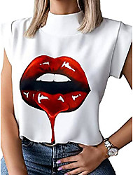 cheap -women's casual short sleeve t shirt elegant red lips stand neck tops blouse (red lips, x-large)
