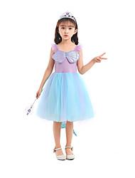 cheap -Fairytale Cosplay Dress Flower Girl Dress Girls' Movie Cosplay Halloween Sweet Blue Dress Christmas Halloween Children's Day Organza