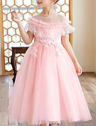 cheap -Kids Little Girls' Dress Floral Layered Dress Wedding Birthday Party Embroidered Mesh Lace Purple Blushing Pink Gold Maxi Short Sleeve Princess Sweet Dresses Summer Regular Fit 4-13 Years