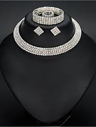 cheap -Women's White Synthetic Diamond Jewelry Set Earrings Jewelry Silver For Wedding Gift Festival