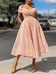 cheap -A-Line Empire Minimalist Party Wear Prom Dress Off Shoulder Sleeveless Tea Length Tulle with Pleats 2021