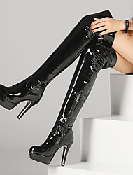 cheap -Women's Boots Sexy Boots Stiletto Heel Boots Platform Stiletto Heel Round Toe Over The Knee Boots Thigh High Boots Sexy Party & Evening Patent Leather Solid Colored Winter Red Black