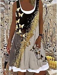 cheap -Women's A Line Dress Knee Length Dress Black Sleeveless Butterfly Animal Print Spring Summer Boat Neck Casual Holiday 2021 S M L XL XXL 3XL