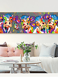 cheap -Wall Art Canvas Prints Painting Artwork Picture Abstract Colorful Cows Animal Home Decoration Décor Rolled Canvas No Frame Unframed Unstretched