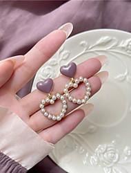 cheap -s925 silver needle korea sweet oiled hollow love pearl earrings 2021 new trendy earrings ear clips d903