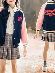 cheap -Kids Girls' Jacket & Coat Long Sleeve Blushing Pink Patchwork Heart Cotton School Daily Wear Casual Daily 3-12 Years