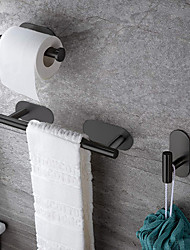 cheap -Towel Bar / Toilet Paper Holder / Robe Hook New Design / Self-adhesive / Creative Contemporary / Modern Stainless Steel / Low-carbon Steel / Metal 4pcs / 3pcs / 1pc - Bathroom Wall Mounted