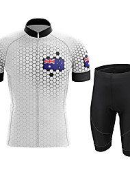 cheap -21Grams Men's Short Sleeve Cycling Jersey with Shorts Summer Spandex White Australia Bike Quick Dry Moisture Wicking Sports Honeycomb Mountain Bike MTB Road Bike Cycling Clothing Apparel / Stretchy