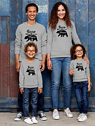 cheap -Tops Family Look Bear Letter Daily Print Gray White Long Sleeve Daily Matching Outfits