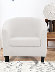 cheap -Stretch Club Chair Cover Slipcover Armchair Barrel Tub Chair White Grey with Cushion Cover Water Repellent Plain Solid Soft Durable Washable