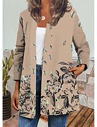 cheap -Women's Jacket Daily Autumn / Fall Winter Regular Coat Regular Fit Casual Jacket Long Sleeve Floral Print Green Beige