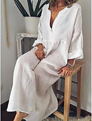cheap -Women's Plus Size Dress Swing Dress Maxi long Dress Long Sleeve Plain Casual Fall Summer Light Blue Yellow Silver L XL XXL 3XL 4XL