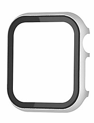 cheap -matte finish aluminum alloy & tempered glass screen protector 2-in-1 cover case compatible with 38mm apple watch series 3/2/1 (silver)