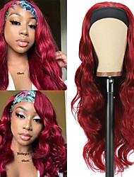 preiswerte -Burgunder Stirnband Perücke synthetische Perücke Körperwelle Perücke kleberlose Perücken mit Stirnband Cosplay tägliche Lolita Perücke für schwarze Frauen