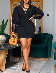 cheap -Women's Plus Size Dress Sheath Dress Short Mini Dress Long Sleeve Dot Lace Cutout V Neck Sexy Spring Summer Black L XL XXL XXXL