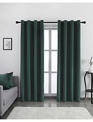 cheap -Window Curtain Window Treatments Green 2 Panels Room Darkening Plain/Solid for Living Room Bedroom