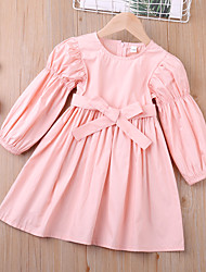 cheap -Kids Toddler Little Girls' Dress Solid Colored Blushing Pink Cotton Knee-length Long Sleeve Sweet Dresses Children's Day 2-6 Years