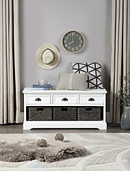 cheap -White Homes Collection Wood Storage Bench With 3 Drawers 3 Woven Baskets Furniture
