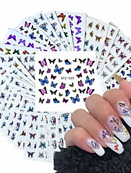 cheap -30 Pcs/set Butterfly Nail Art Stickers For Acrylic Nails Water Transfer Decals For Ladies Nail Art Design Stickers Nail Tips Packaging Decoration Kit