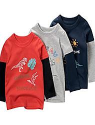 cheap -Kid's Boys' Tee Short Sleeve Cartoon 3619B embroidery 3619A Noble Blue 3619C flower gray Cotton Children Tops Cartoon School