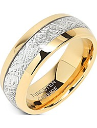 cheap -8mm mens tungsten carbide ring imitated meteorite inlay 14k gold plated jewelry wedding band size 5-16 (8)
