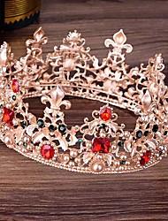 cheap -FORSEVEN Gold Full Circle Pearl Crystal Crown and Tiara Bridal Coronal Diadem Headpiece Hair Jewelry Wedding Accessories JL