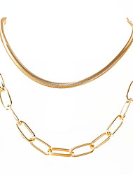 cheap -fashion jewelry alloy geometric double-layer snake bone chain punk hip-hop style necklace necklace