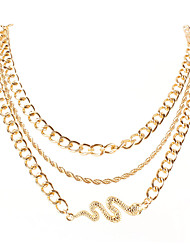 cheap -fashion jewelry alloy snake-shaped pendant multi-layer necklace simple style necklace female
