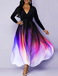 cheap -Women's Swing Dress Maxi long Dress Black Long Sleeve Color Gradient Fall Winter Elegant Slim 2021 S M L XL XXL