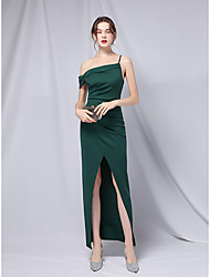 cheap -Sheath / Column Empire Sexy Wedding Guest Formal Evening Dress Off Shoulder Short Sleeve Ankle Length Stretch Satin with Split 2021