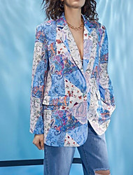 cheap -Women's Coat Party Fall Winter Regular Coat Standard Fit Casual Cool Jacket Long Sleeve Print Artistic Style Blue Blushing Pink