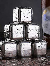 cheap -Whisky Stones Ice Cubes Set Reusable Food Grade 304 Stainless Steel Wine Cooling Cube Chilling Rock Party Bar Tool 6PCS Set