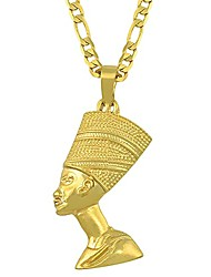 cheap -egyptian queen nefertiti pendant necklace for women   18k gold plated pendant necklace   3mm figaro chain necklace 18/22 inches (22)