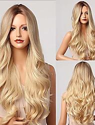 preiswerte -E-Forest blonde Perücken für Frauen lange gewellte Perücke ombre blonde Perücke lange lockige Haare Perücke Mittelteil Perücke dunkle Wurzeln hitzebeständige synthetische Perücken 26 Zoll