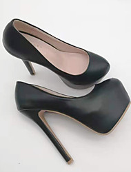 cheap -Women's Heels Platform Round Toe Wedding Pumps Daily Work PU Solid Colored Color Block White Black