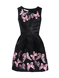 cheap -Kids Little Girls' Dress Butterfly Floral Animal Strap Dress Print Blue Blushing Pink Dusty Rose Knee-length Short Sleeve Casual Cute Dresses Summer Regular Fit 4-12 Years