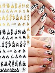 cheap -4 Pcs/set Flame Nail Art Stickers 4 Colors Flame Nail Decals Self Adhesive Fire Nail Art Supplies Sticker 3D Holographic Flame Reflections Nail Stickers Manicure Tips Accessories for Acrylic Nails