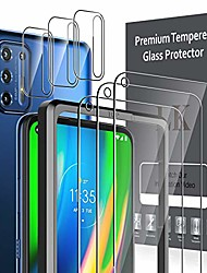 cheap -6 pack  3 pack screen protector + 3 pack camera lens protector compatible with motorola moto g9 plus, tempered glass, easy frame installation, hd ultra-thin