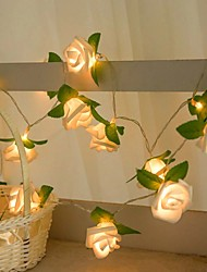 cheap -Rose Leaf String Lights 3M 20LEDs Fairy Lights Battery Operation Christmas Wedding Holiday Party Home Garden Decoration