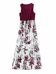 cheap -Kids Kid's Little Mommy and Me Dress Print Red Wine Sleeveless Chic & Modern Dresses