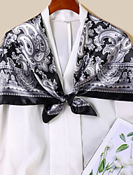 cheap -Women's Square Scarf Party Black and White Scarf Floral