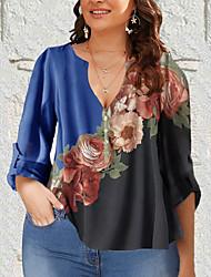 cheap -Women's Plus Size Tops Shirt Florals Half Sleeve V Neck Blue Yellow Light Purple Big Size L XL XXL 3XL 4XL