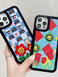 cheap -Phone Case For Apple Back Cover iPhone 12 Pro Max 11 SE 2020 X XR XS Max 8 7 Shockproof Dustproof Flower Textile TPU