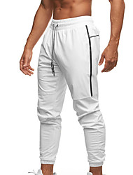 cheap -Men's Casual / Sporty Sports Comfort Breathable Sports Pants Sweatpants Daily Sports Pants Solid Color Full Length Pocket Elastic Waist Reflective Strip White Black