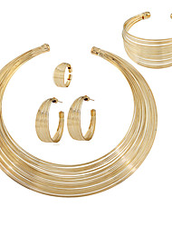 cheap -rose gold plated african multiple strands choker women necklace bracelet earrings ring chunky jewelry set for women statement costume party show accessories