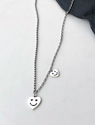 cheap -yongcheng whole body s925 silver retro old smile face heart-shaped love necklace round bead chain trend personality clavicle chain