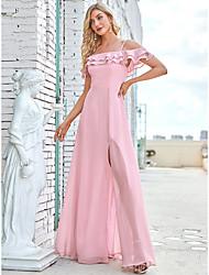 cheap -A-Line Straps / Off Shoulder Floor Length Chiffon Bridesmaid Dress with Ruffles